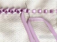 Вышивка лентами подушки