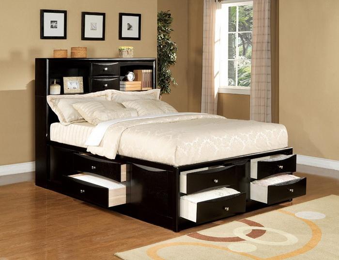 Модель кровати с ящиками для хранения