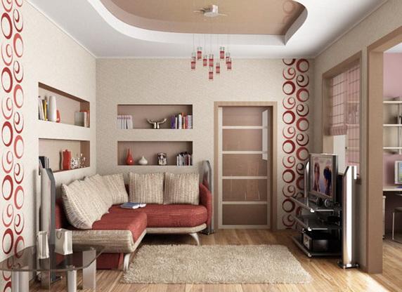 Угловая конструкция в маленькой гостиной