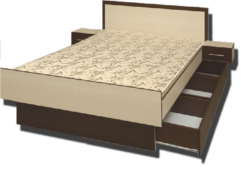 Полутораспальная кровать с встроенными ящиками