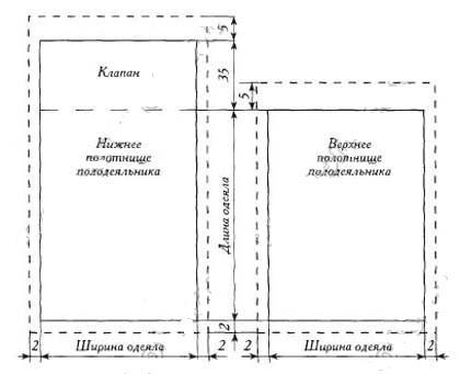 Схема пододеяльника с конвертом на застежках